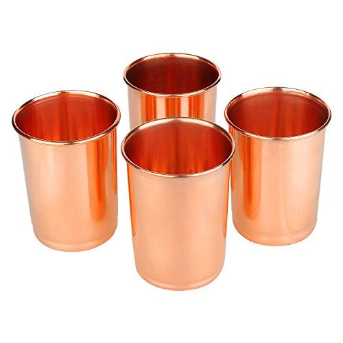 Zap Impex Trinkgefäße Kupfer Glas reines Kupfer Zuhaltung ayurvedischen Heil Satz von 4 -