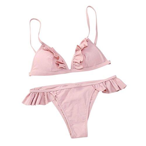 Set Push-Up Gepolsterte BH Beach Halter Bikini Set Neckholder Bandeau Badeanzug Bademode Swimwear Swimsuits Zweiteilig Strandmode (L, rosa) ()