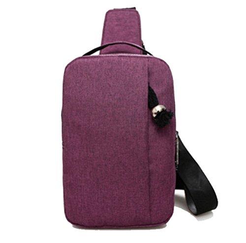 BULAGE Pack Brustbeutel Männer Nylon Tasche Multifunktions Brust Mode Mehrzweck- Tragbare Beiläufig Rucksack Schulter Purple