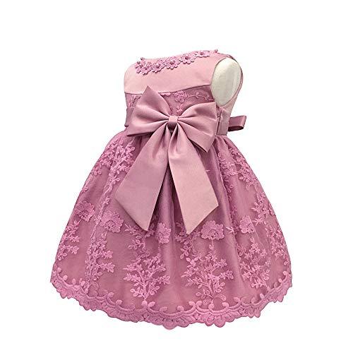 n Süße Prinzessin Kleid - Bowknot Spitze Ärmellos Lässig Ziemlich Elegant Festzug Geburtstag Party Kleid, Rosa A, 12M ()
