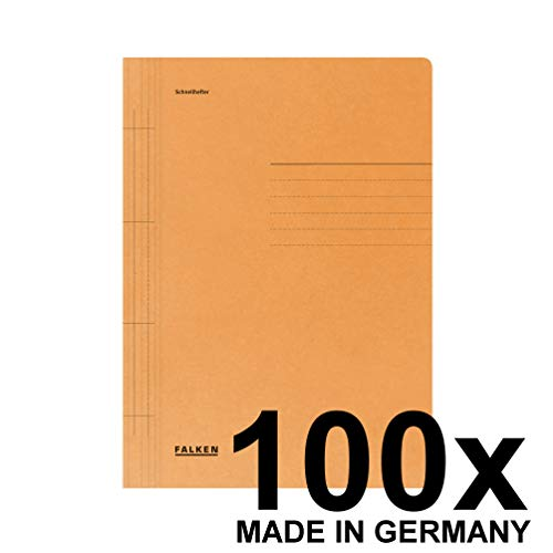 Falken Schnellhefter aus Recycling-Karton für DIN A4 kaufmännische und Behördenheftung orange 100er Pack Blauer Engel Hefter ideal für Büro und Schule