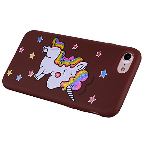 "Coque pour Apple iPhone 7 , IJIA Marron Mignon Licorne TPU Doux Silicone Bumper Case Cover Shell Housse Etui pour Apple iPhone 7 (4.7"") brown"