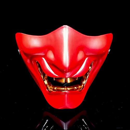 LIULINAN Halloween-Maske Beängstigend Halb Gesicht Erwachsene Maske Gesichter Yin-Yang Division Demon Japanischen Horror-Maske Gruselig,Red (Bemalte Gesichter Für Halloween)
