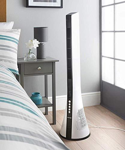 Air Cooler Kleiner Luftkühler Oszillierende Bladeless Tower Fan-Fernbedienung 3 Geschwindigkeiten Slimline Design Timer Sleep Mode, Weiß -