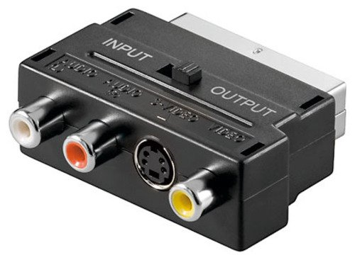 S-Video Adapter Scart 1x S-VHS SVHS BU+3x Cinch Chinch Buchse