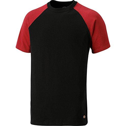 Dickies Two Tone T-Shirt SH2007, 100%Baumwolle, 180g/m², verschiedene Farben (3XL, Schwarz / Rot) (Tone-raglan-t-shirt)