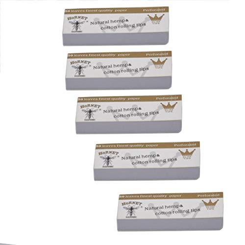 White Paper Filter (KHKJ 5 x Hornet Rolling Paper Filter Tips 50 Leaves 60 * 21MM Natural White Unrefined Hornet Rolling Paper Filter Tips 50 Leaves#30)