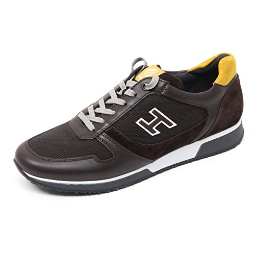 B8452 sneaker uomo HOGAN H198 SLASH H FLOCK marrone scuro shoe man Marrone scuro