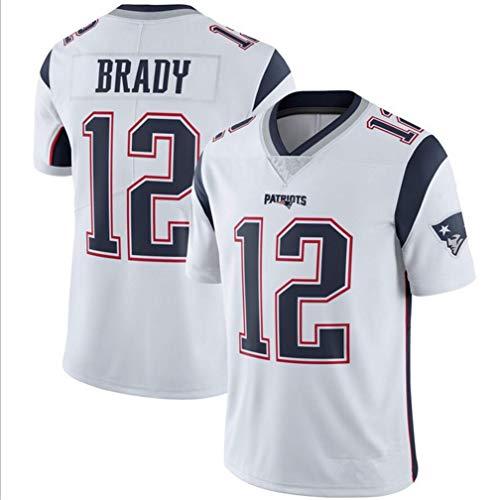 Majestic Athletic NFL Football Patriot 12# Brady T-Shirt Jersey Bequem und Atmungsaktiv Trikot,White,XXXL