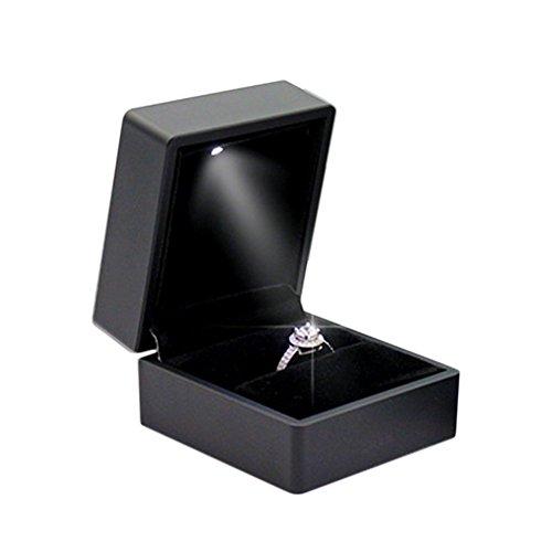 Gaeruite anello di fidanzamento, con luce, piazza led jewelry gift box case per anello di fidanzamento in scatola, led luce lusso anello ciondolo collana regalo di nozze box, nero, ring box