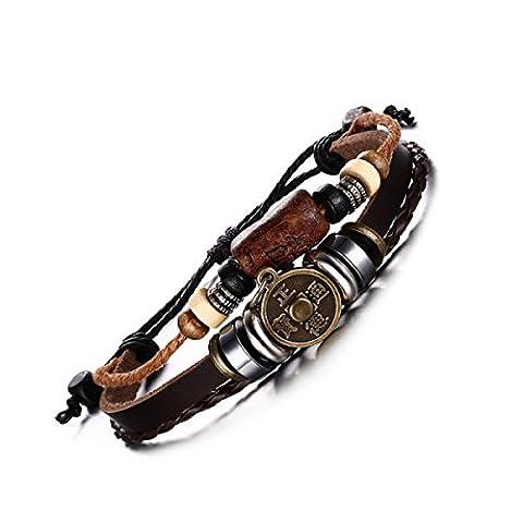 WenL Men's Retro Genuine Leather Bracelet With Retro Copper Coins