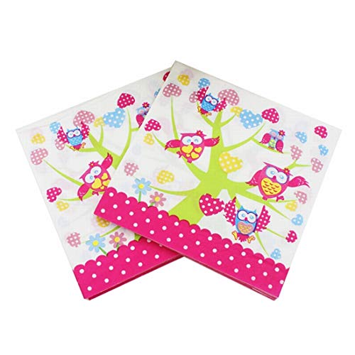 Mkulxina Rosa Owl Pattern Original Pulp Serviette, ideal für Brunch, Catering-Events, Dinner Parties, Buffets, Frühlingshochzeiten oder den täglichen Gebrauch, 5er-Pack - Owl Gewicht Papier