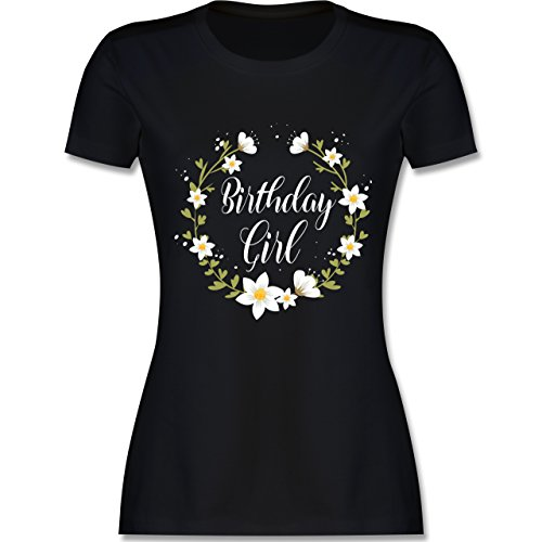 Shirtracer Geburtstag - Birthday Girl Flowers - Damen T-Shirt Rundhals Schwarz