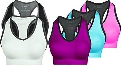 M-Mala Sport BH Sport-BH Yoga Bralette 3er Pack abnehmbare Polsterung Schock Absorber Compression