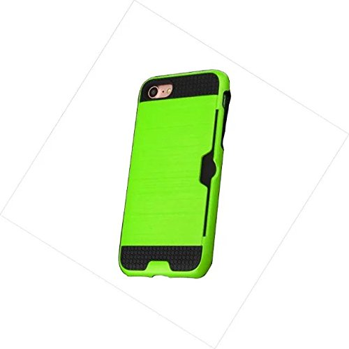 iPhone 7 Plus Coque, Lantier [Card Slot Wallet Series] Dual Layer Hybrid Case Shock-Absorption Armure robuste en plastique dur Shell flexible TPU pour iPhone 7 Plus (5,5 pouces) Dark Green Light Green