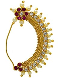 Anuradha Art Pink Colour 'Bajirao Mastani' Styled Traditional Maharashtrian Nath Nose Ring For Women/Girls