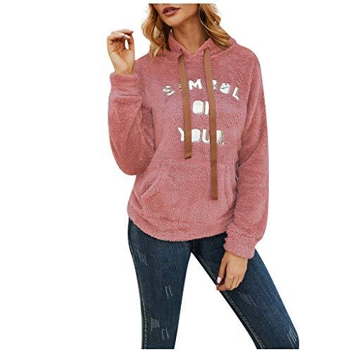 Allegorly Damen Hoodie Mode Kapuzenpullover Mode Brief Drucken Plüsch Pullover Mädchen Casual Warmen Sweatshirt Teddy-Fleece Langarm Oversize Mantel Tunnelzug Wollmantel mit Taschen