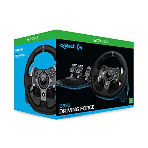 Bild 2: Logitech G920 Driving Force Gaming Rennlenkrad, Zweimotorig Force Feedback, 900° Lenkbereich, Leder-Lenkrad, Verstellbare Edelstahl Bodenpedale, Xbox One/PC/Mac, schwarz