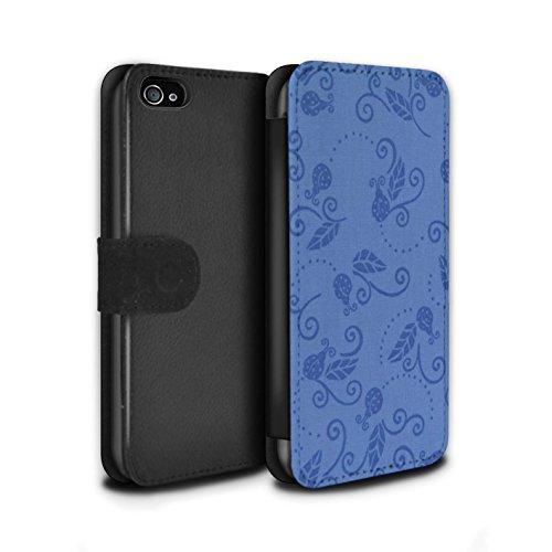 Stuff4 Coque/Etui/Housse Cuir PU Case/Cover pour Apple iPhone 4/4S / Gris Design / Motif Coccinelle Collection Bleu
