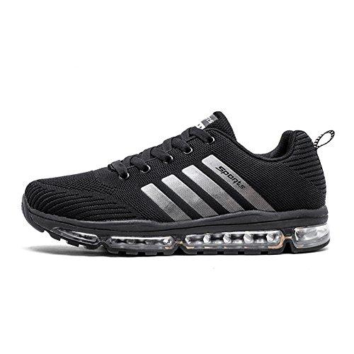 Fexkean Unisex Sportschuhe Laufschuhe Turnschuhe Atmungsaktiv Sneakers Air Sport Casual Shoes Herren Damen (8068Black45)