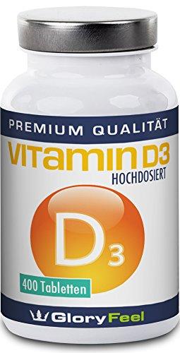 Vitamin D3 Hochdosiert 8100 IE - Ohne Magnesiumstearate - 8.100 IE 200µg Pro Vegetarischer Vitamin D Tablette Für Über 1 Jahr D-3 Bedarf - 400 Tabletten - Nahrungsergänzung von GloryFeel (Vitamin-d-ergänzung)