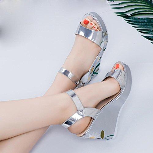 Transer® Damen Keilabsatz Gedruckt Sandalen Silber Gold Mode Kunstleder+Kunststoff Wedges Platform Sandalen Silber