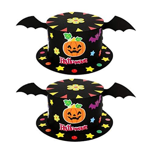 Nuobesty 2pcs bambini cappello di carta fai da te cappelli da strega halloween rifornimenti del partito cappello per bambini accessori costume