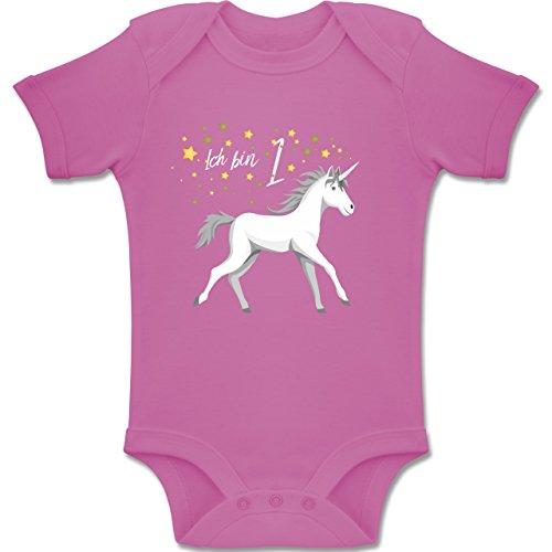 Einhornstrampler - 12-18 Monate - Pink - BZ10 - Baby Body Kurzarm Jungen Mädchen