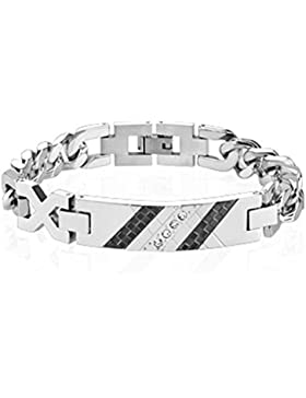 Paula & Fritz® Armband silber schwarz Edelstahl Chirurgenstahl 316L Checkered Zirkonia Platte SSBH-0613