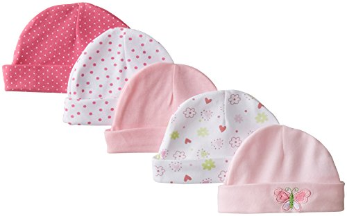 spasilk-baby-girls-newborn-5-pack-cotton-hats-pink-butterfly-0-6-months
