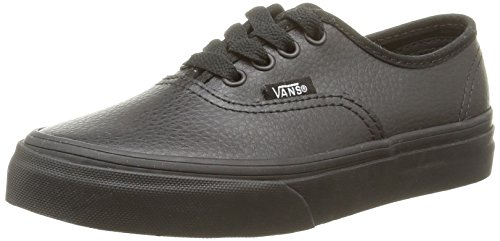 Vans K Authentic Leather, Unisex-Kinder Sneakers Schwarz (leather/black/black)