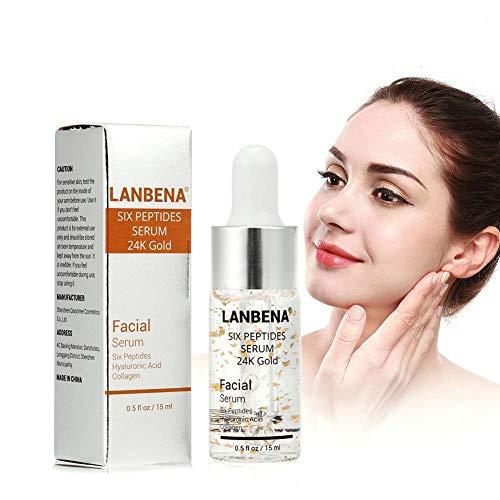 Peptide Serum für Gesicht mit Hyaluronsäure Kollagen Sechs Peptide 24K Gold Anti Aging Essenz -