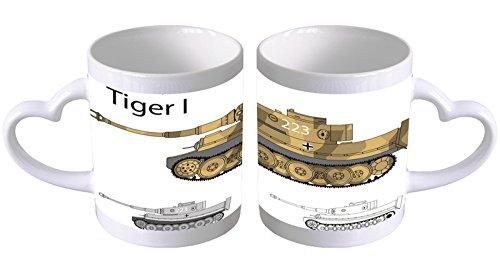 LEotiE SINCE 2004 Kaffeetasse mit Herzgriff Kaffeebecher Becher Tasse Mit Fotodruck Fototasse Retro Motiv Tiger Panzer Herz Griff