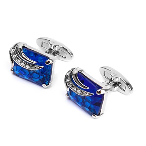 Imported Men's Rectangle Blue Crystal Cufflinks Shirt Cuff Links Wedding Part...-13007854MG