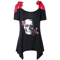 Lenfesh Atractivas Blusa Camisa con Hombros Descubiertos para Mujer Blusa con Estampado de Calaveras (2XL, Negro)