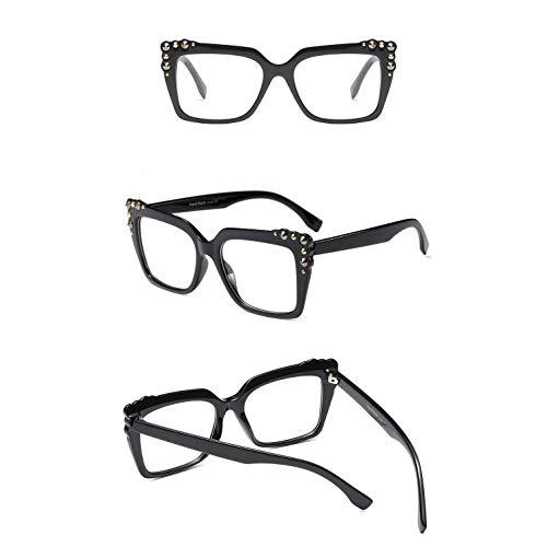 Z&HA Women's Square Optischen Rahmen Nicht-Brille, Niet Dekoration Street Beat Eyewear,Brightblack