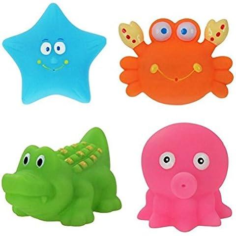 PIXNOR Animale Bagno Bambino Nuotano Giocattolo Piccolo Animale per il bagnetto - 4 (Luminoso Smalto Di Colore)