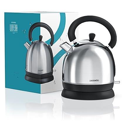 Arendo-Wasserkocher-3000-WattEdelstahl-Teekessel-3000-Watt-Leistungsaufnahme-Schnellkoch-Wasserkocher-Fllmenge-max-18-Liter-automatische-Abschaltung-SilberSchwarz