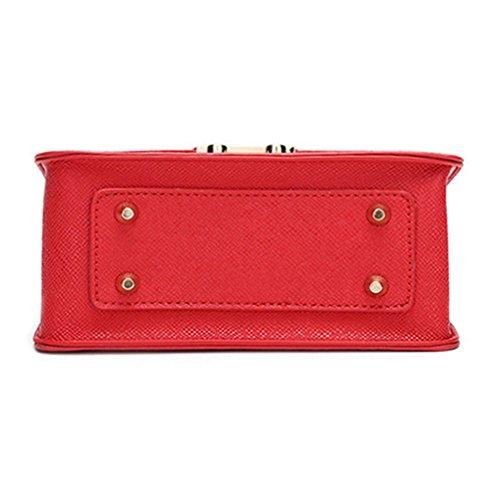 Myymee Donna Sacchetto del Messaggero della spalla con la Catena di modo Piccolo Sacchetto Quadrato Rosso Nero