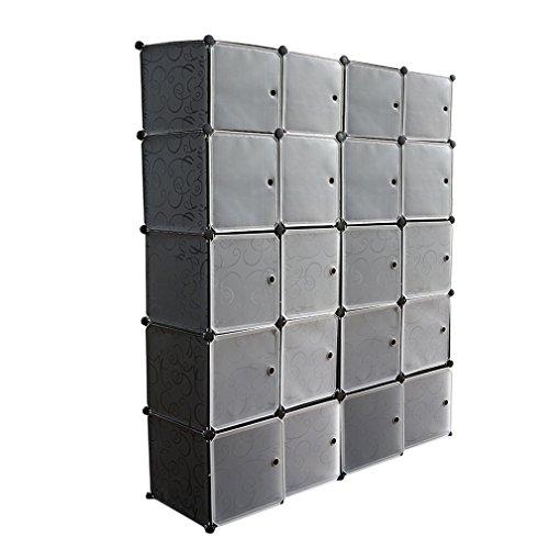 Hongyans Armario Modular de 20 Cubos con Puertas, Armario de Almacenaje, para Ropa, Zapatos, Juguetes y Libros (Negro)