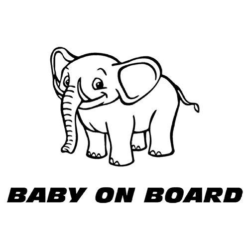 Zxdcd 17.5X11.6 Cm Elefanten Cartoon Tier Cool Baby An Bord Auto Aufkleber Vinyl Aufkleber Zubehör Schwarz (Cooles Auto-spiegel-zubehör)