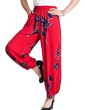 Mujeres Pantalones Anchos del Verano Las Señoras Casuales La Cintura Elástica Impresión Manera Pantalones Nueve...