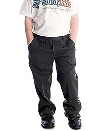 Pantalones infantiles con cintura elástica, talla 2-12 años, color negro, gris y azul