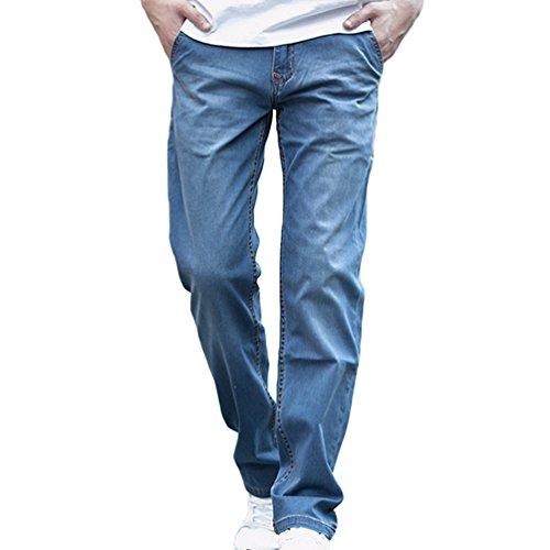 NiSeng Herren Casual Hose Baggy Jeans Cowboy Trouser Denim Jeans Hosen Hellblau