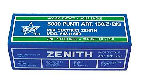 Punti metallici in ACCIAIO ZINGATO ZENITH 130/Z BIS confezione da 5000 punti per cucitrici Zenith modello 548 e 590