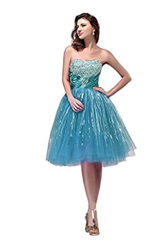 Hot Queen Women's Sweetheart Sequins Sleeveless Tulle Short Bridesmaid Dresses 2015 Size 6 UK Blue