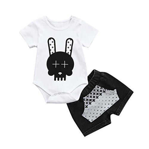 Kurzarm T-Shirt Roben Kinder, Sunday Säugling Baby Boy Cartoon Tops + Denim Tasche Hosen Shorts Outfits Kleidung Sets (Weiß, Alter:18M) (Robe Shirt)