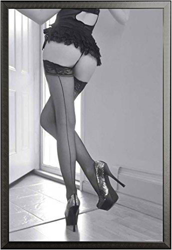empireposter - Girls - High Heels & Stockings - Größe (cm), ca. 61x91,5 - Poster + Wechselrahmen der Marke Shinsuke Maxi aus edlem Aluminium (ALU) Profil: 30mm schwarz (30 Mm Heel)