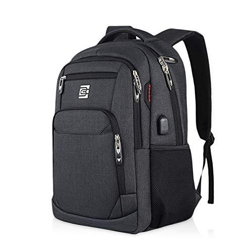 FANDARE Laptop Rucksack Schulrucksack Herren 15.6 Zoll Laptop-Tasche mit USB Business Rucksäcke Reise Schulranzen Schultasche Daypack Wasserdicht Polyester Schwarz