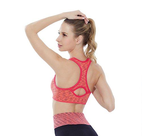 GGTFA Femmes sans couture Creux Racerback Collier de débardeur de Sport de la salle de Gym Yoga soutien-gorge Orange